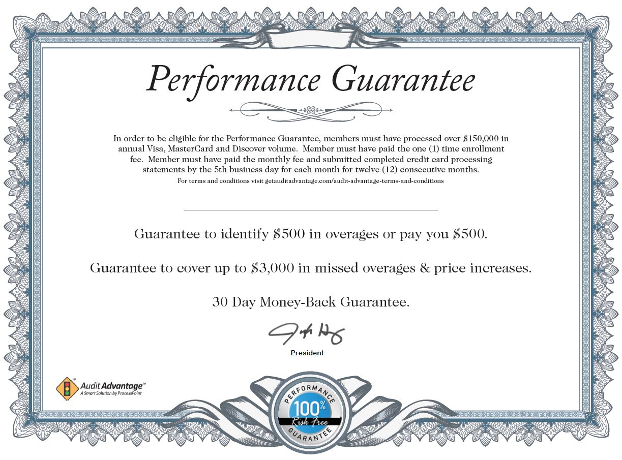 Enroll in credit card processing monitoring with audit advantage performance guarantee certificate yelopaper Choice Image